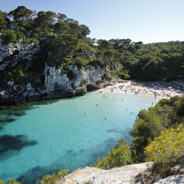 """Cala Macarelleta, near Cala Galdana, South West Coast, Menorca, Balearic..."" stock image"