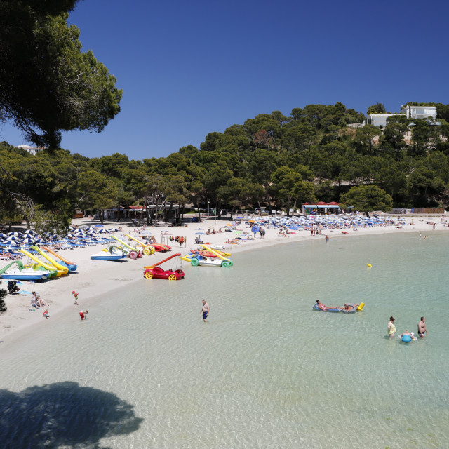 """View over beach, Cala Galdana, Menorca, Balearic Islands, Spain, Europe"" stock image"
