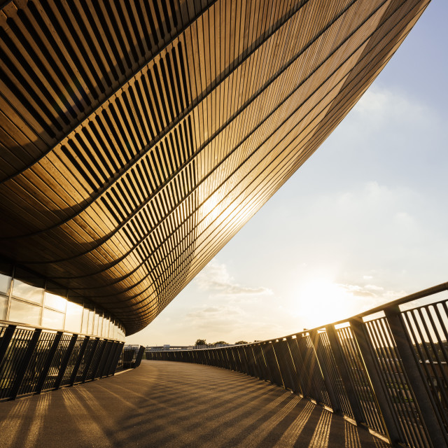 """""""Evening light on exterior of The Velodrome, Queen Elizabeth Olympic Park,..."""" stock image"""