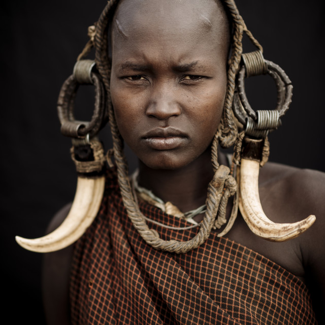 """Portrait of Ntorol, Mursi Tribe, Chamolo Village, Omo Valley, Ethiopia, Africa"" stock image"