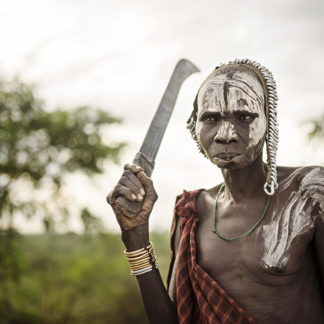 """Portrait of Nakumu, Mursi Tribe, Marege Village, Omo Valley, Ethiopia, Africa"" stock image"