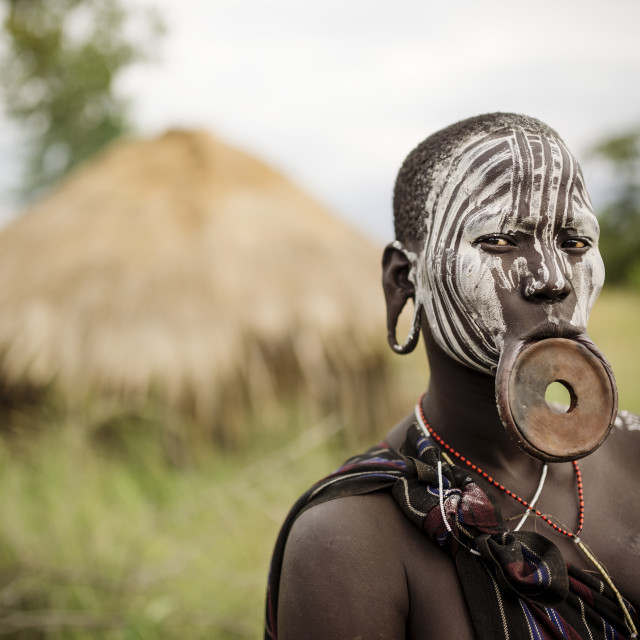 """Portrait of Nangone, Mursi Tribe, Minisha Village, Omo Valley, Ethiopia, Africa"" stock image"
