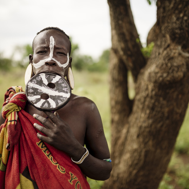 """Portrait of Dinakari, Mursi Tribe, Minisha Village, Omo Valley, Ethiopia, Africa"" stock image"