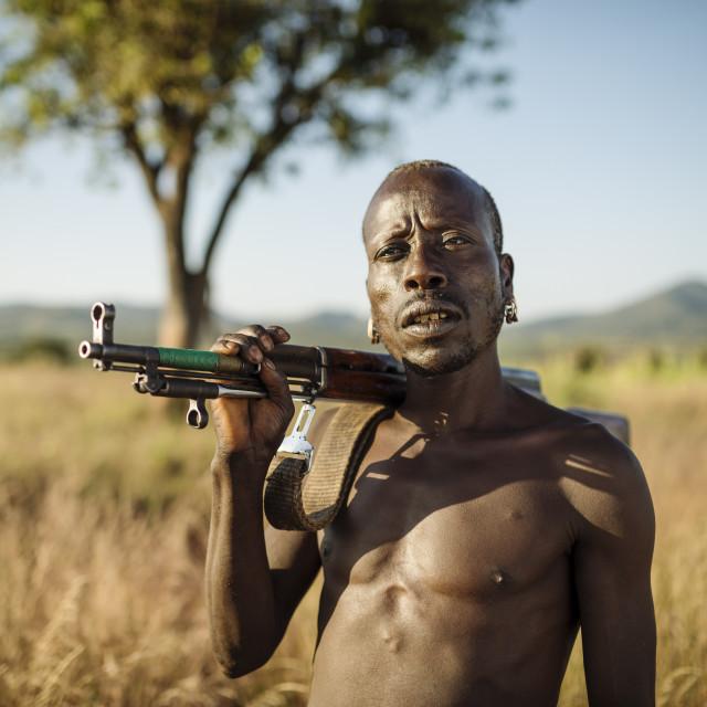 """Portrait of Banki, Banna Tribe, Gargew Village, Omo Valley, Ethiopia, Africa"" stock image"