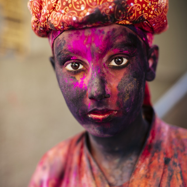 """Holi Festival Celebrations in Mathura, Braj, Uttar Pradesh, India, Asia"" stock image"