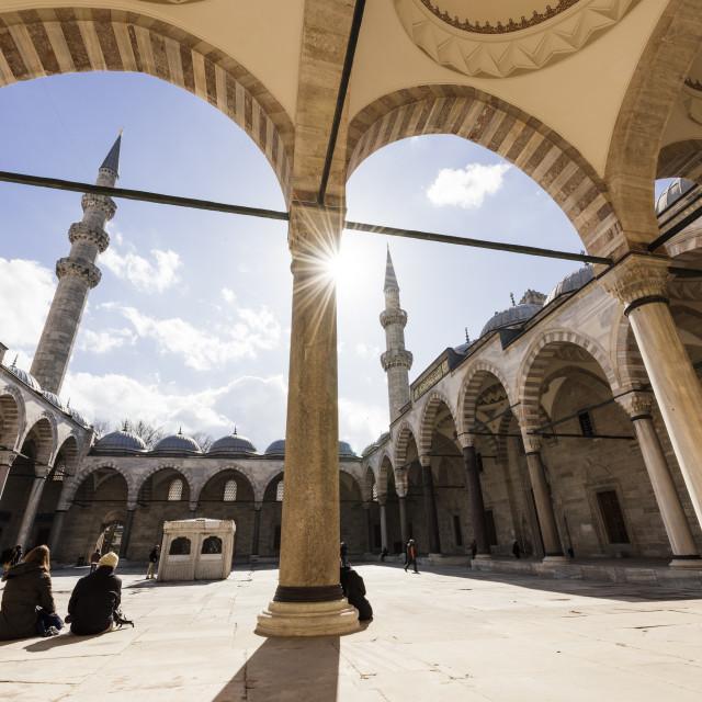 """Exterior of Suleymaniye Mosque, UNESCO World Heritage Site, Istanbul, Turkey,..."" stock image"