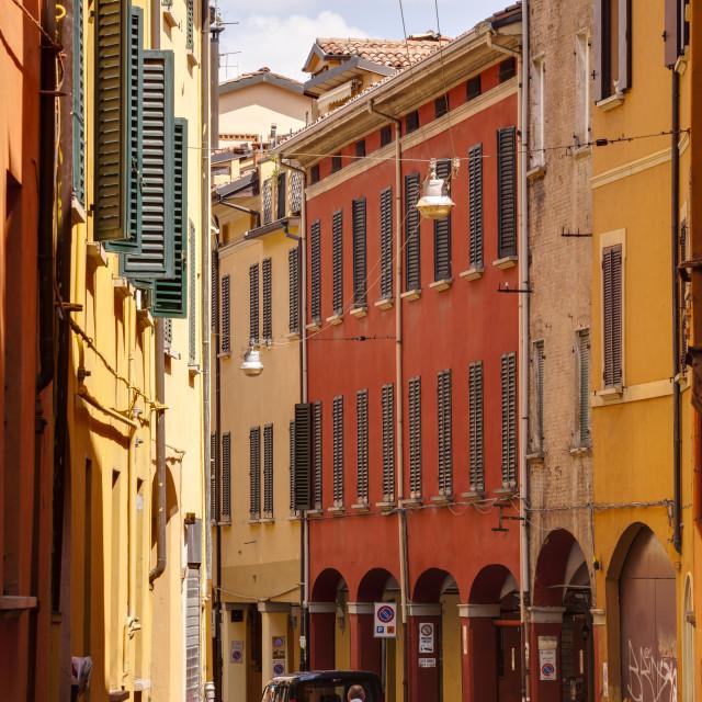 """""""Porticoes in the historic centre of Bologna, UNESCO World Heritage Site,..."""" stock image"""