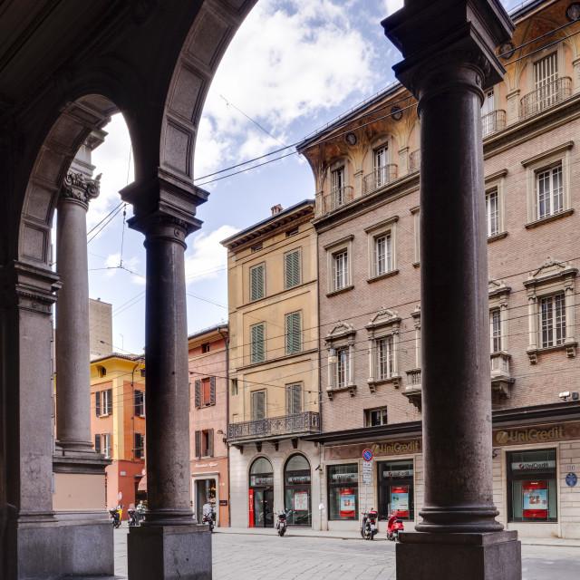 """""""The porticoes of Via Rizzoli, Bologna. UNESCO World Heritage Site,..."""" stock image"""