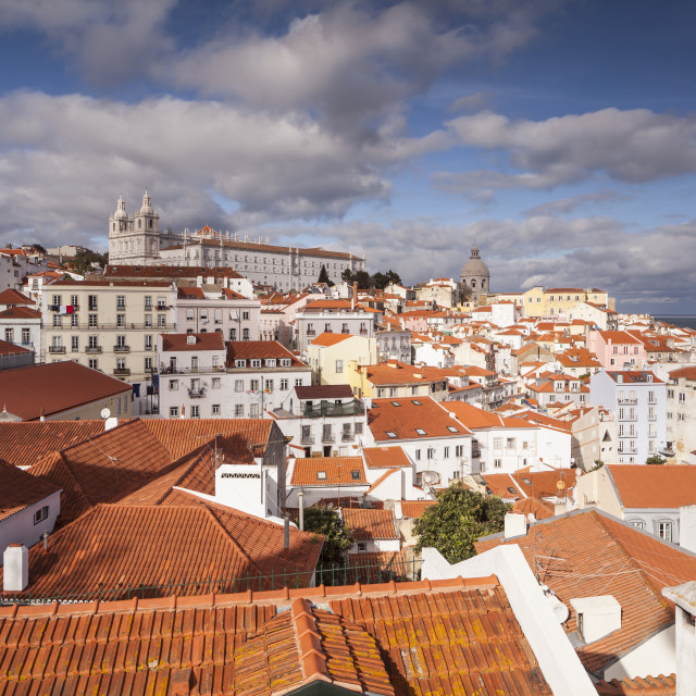 """Sao Vicente de Fora Church and the Alfama district in Lisbon, Portugal."" stock image"