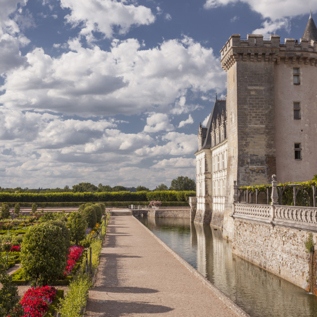 """The afternoon light catches the side of the chateau and gardens in Villandry,..."" stock image"