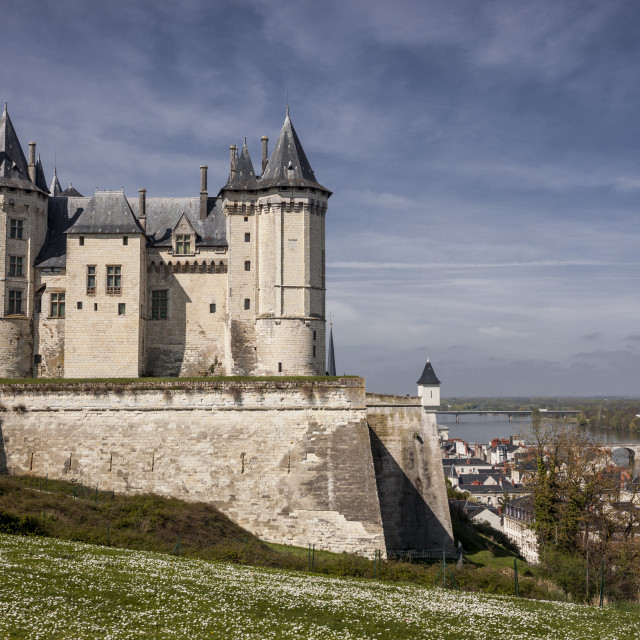 """The chateau of Saumur in France. The current chateau has been stood here..."" stock image"