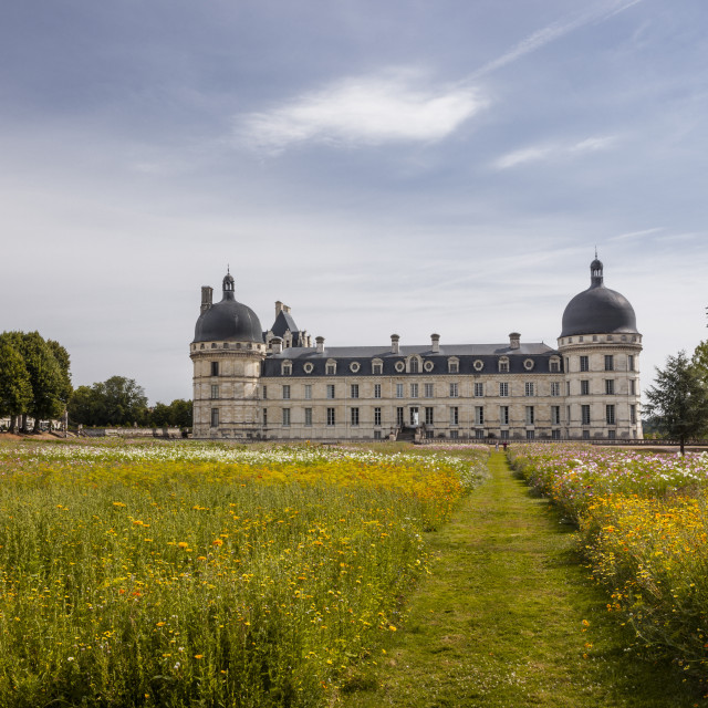 """The beautiful chateau at Valencay in France. A beautiful example of a..."" stock image"