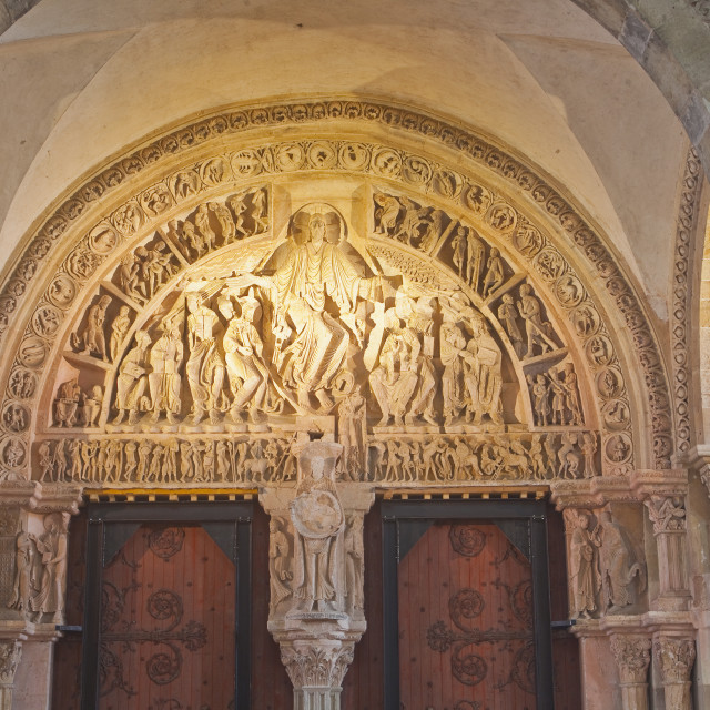 """The beautiful tympanum at Vezelay in Burgundy, France."" stock image"
