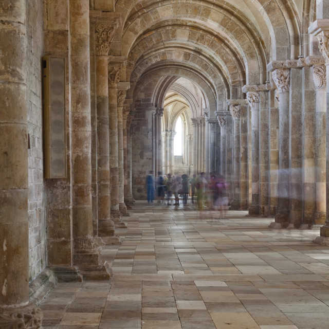 """The interior of Saint Marie Madeleine abbey in Vezelay, Burgundy."" stock image"
