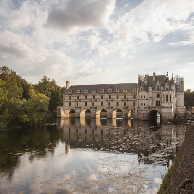 """The magnificent chateau of Chenonceau across the river Cher. It is within the..."" stock image"