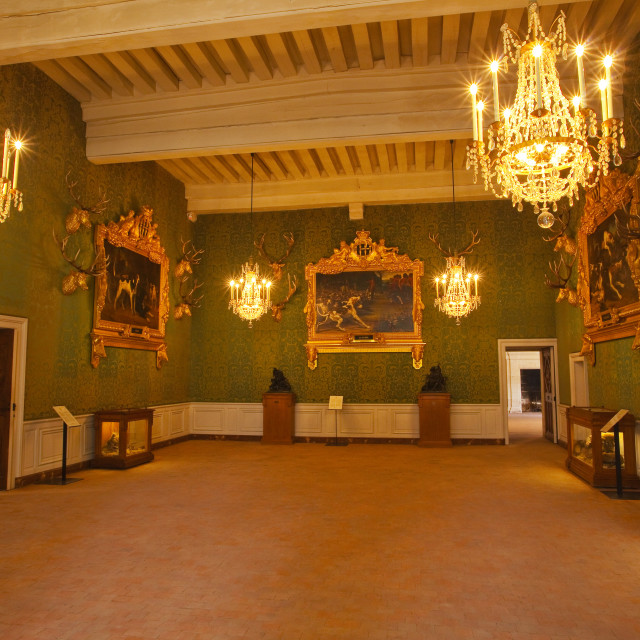"""Hunting trophies and paintings adorn one of the 440 rooms in the Chateau de..."" stock image"