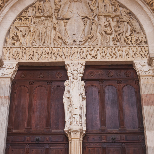 """""""The tympanum on the front of Autun cathedral in Burgundy, France."""" stock image"""