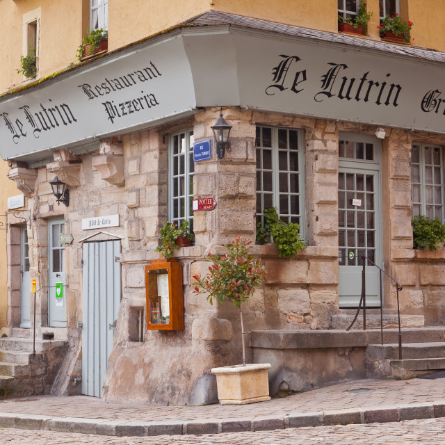 """An restaurant in the old town of Autun in Burgundy, France."" stock image"