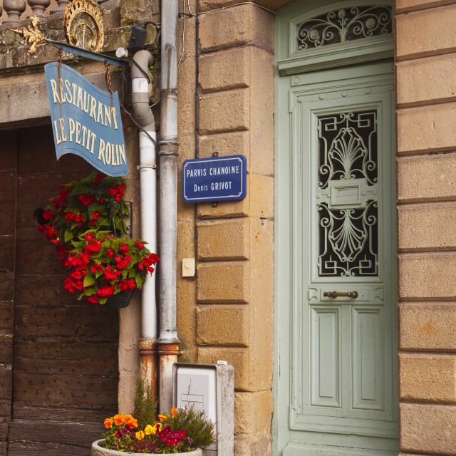 """""""An old doorway in the town of Autun, Burgundy, France."""" stock image"""