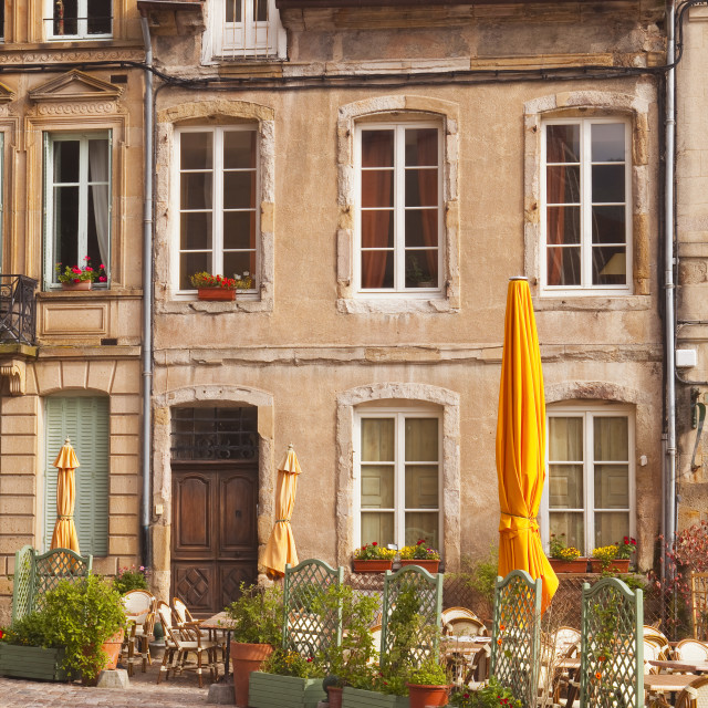 """An old house and restaurant in Autun, Burgundy, France."" stock image"