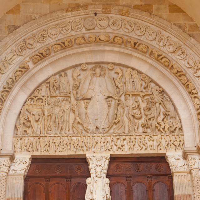 """The tympanum on the front of Autun cathedral in Burgundy, France."" stock image"