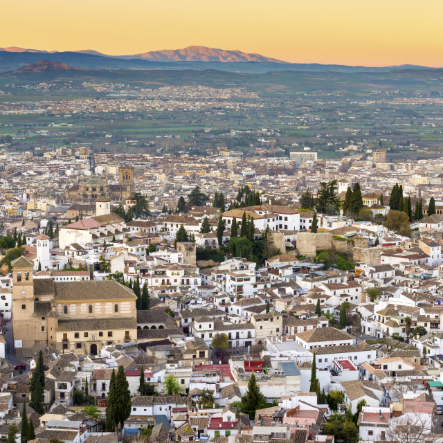 """Cityscape of Granada including the Iglesia del Salvador, Granada, Andalucia,..."" stock image"