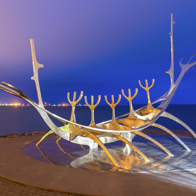 """The Sun Voyager sculpture by Jon Gunnar Arnason, Reykjavik, Iceland, Polar..."" stock image"