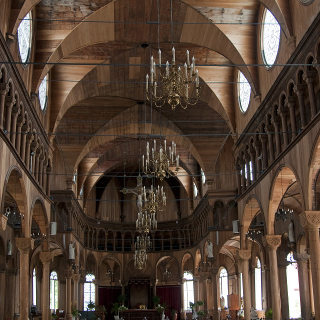 """""""Wooden interior of St. Peter and Paul's Cathedral in Paramaribo, Suriname,..."""" stock image"""