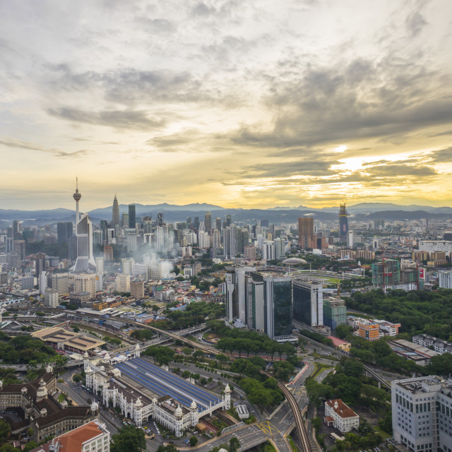 """Aerial view of beautiful sunrise blue hour at Kuala Lumpur city"" stock image"