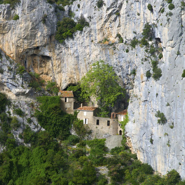"""""""Hermitage in Galamus Gorge, French Pyrenees, France"""" stock image"""