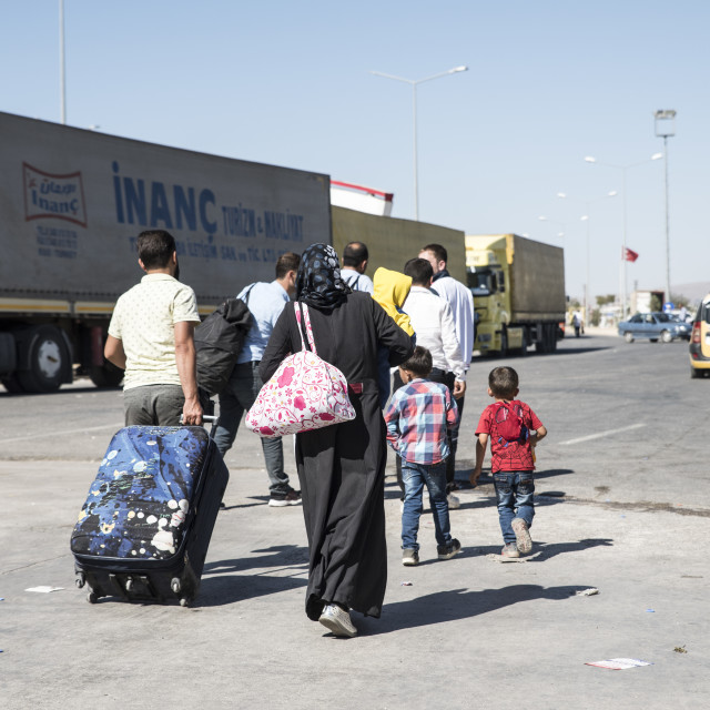 """Syrian refugees entering Turkey"" stock image"
