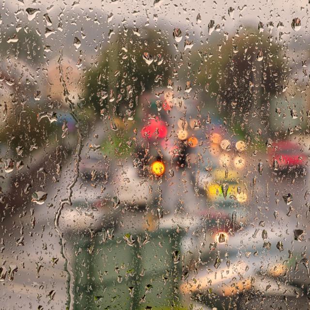 """""""Windowpane rain"""" stock image"""