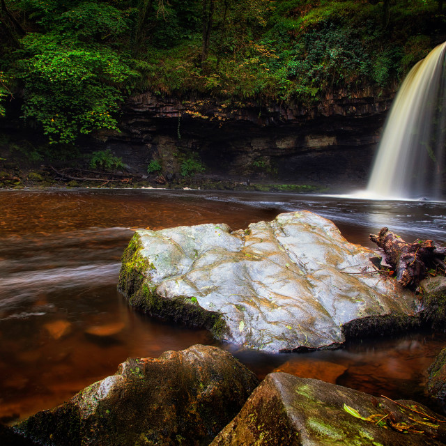 """The rock at Sgwd Gwladus waterfall"" stock image"