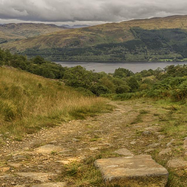 """Looking down Glen Vorlich to Loch Earn"" stock image"