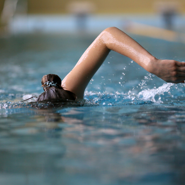"""Girl swims in the pool"" stock image"