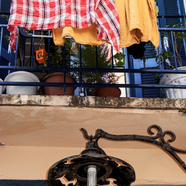 """""""Washing hanging out to dry on Venetian Town House. Chania Old Town, Crete, Greece"""" stock image"""