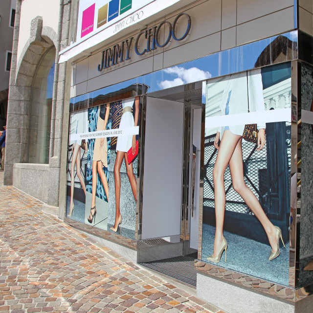 """An expensive Jimmy Choo shoe shop in St. Moritz Switzerland"" stock image"