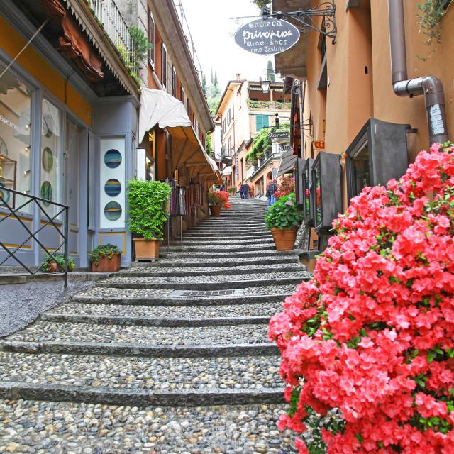 """The narrow picturesque street of Salita Serbelloni Bellagio Lake"" stock image"