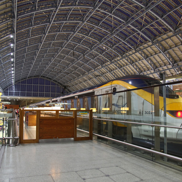 """A Eurostar train stationary at St. Pancras International railway"" stock image"