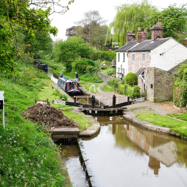 """Hall Green Stop Lock at the Junction of the Macclesfield Canal a"" stock image"