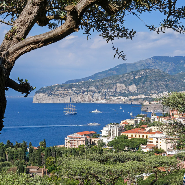 """A view over the town of Sorrento towards the Bay of Naples on th"" stock image"