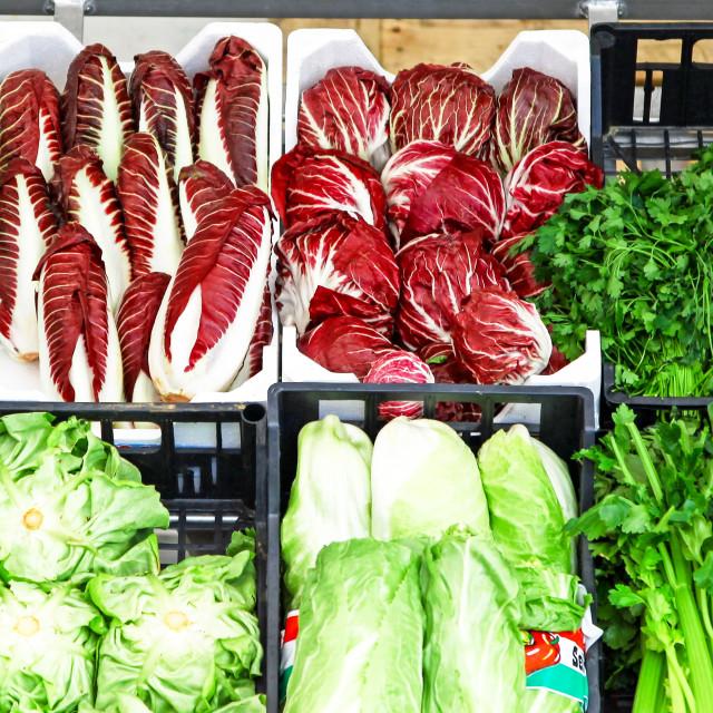 """Salad vegetables vegetable local produce for sale Lenno Market,"" stock image"