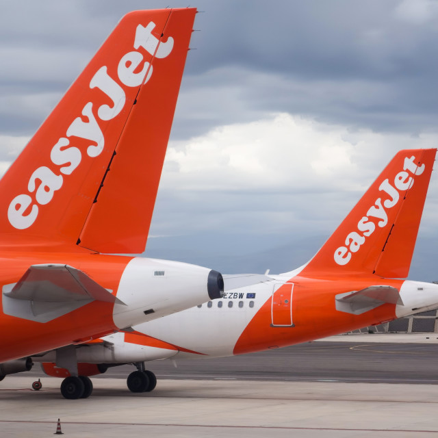 """budget airline Easyjet Airbus A319-111 planes on the tarmac at N"" stock image"