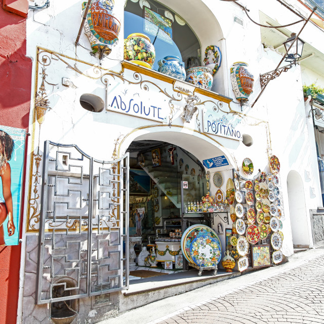 """Absolute Positano a shop selling ceramics on Via Cristoforo Col"" stock image"