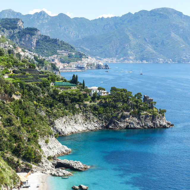 """View of a beach and hillside between Positano and Amalfi Coast C"" stock image"