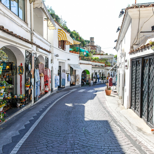 """High quality shops on the Viale Pasitea Positano Amalfi Coast Ca"" stock image"