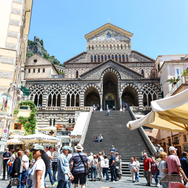 """steps leading up to the 9th-century Roman Catholic Amalfi Cathed"" stock image"