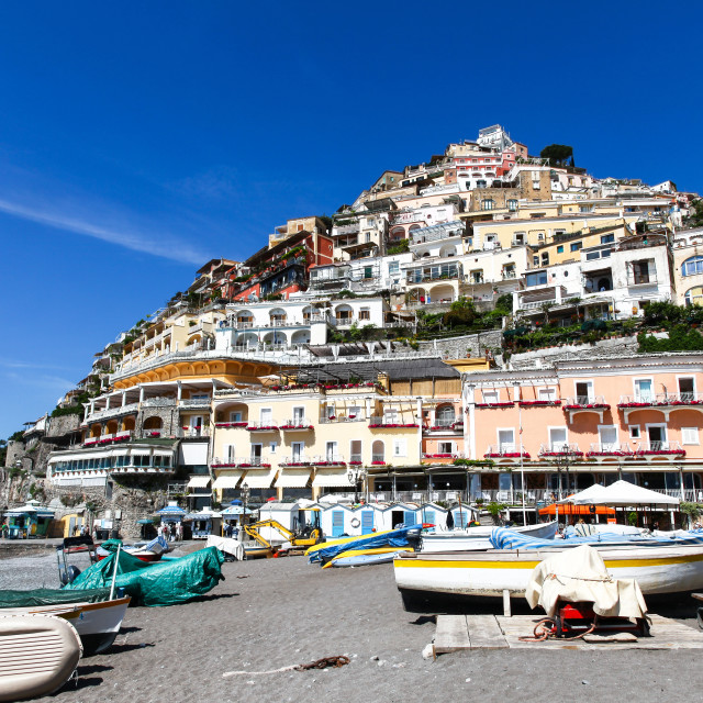 """View from the Beach of houses clinging to the hillside at Posita"" stock image"