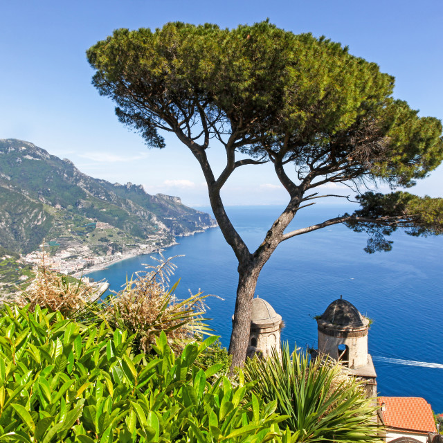 """A view of the Amalfi Coast from the formal gardens at Villa Rufo"" stock image"
