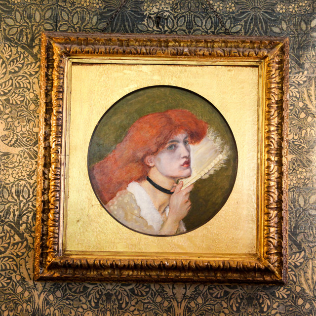 """A painting by Dante Gabriel Rossetti of Jane Morris on a backgro"" stock image"